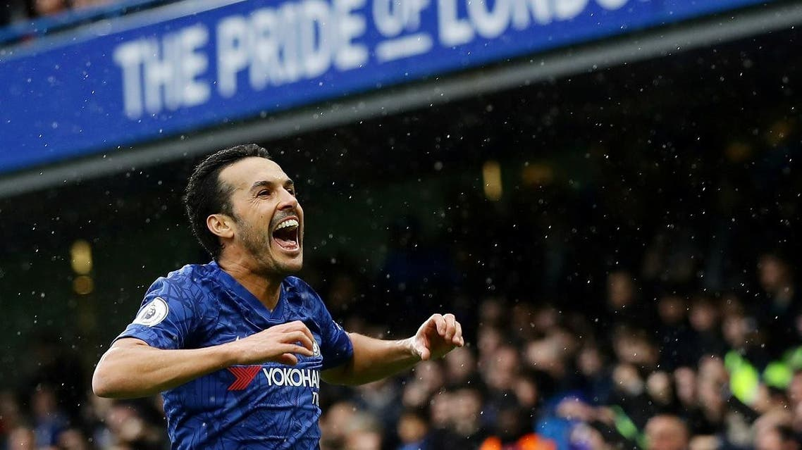 Chelsea's Pedro celebrates scoring their second goal against Everton at Stamford Bridge, London, on March 8, 2020. (Reuters)
