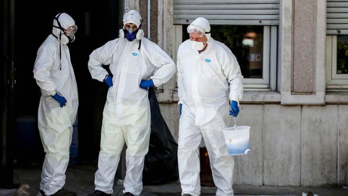 The disinfection of the buildings that host the Region Lazio are being carried out in Rome, Sunday, March 8, 2020. The sanitization was ordered after the Region Lazio Governor Nicola Zingaretti revealed being positive to coronavirus test. (AP)