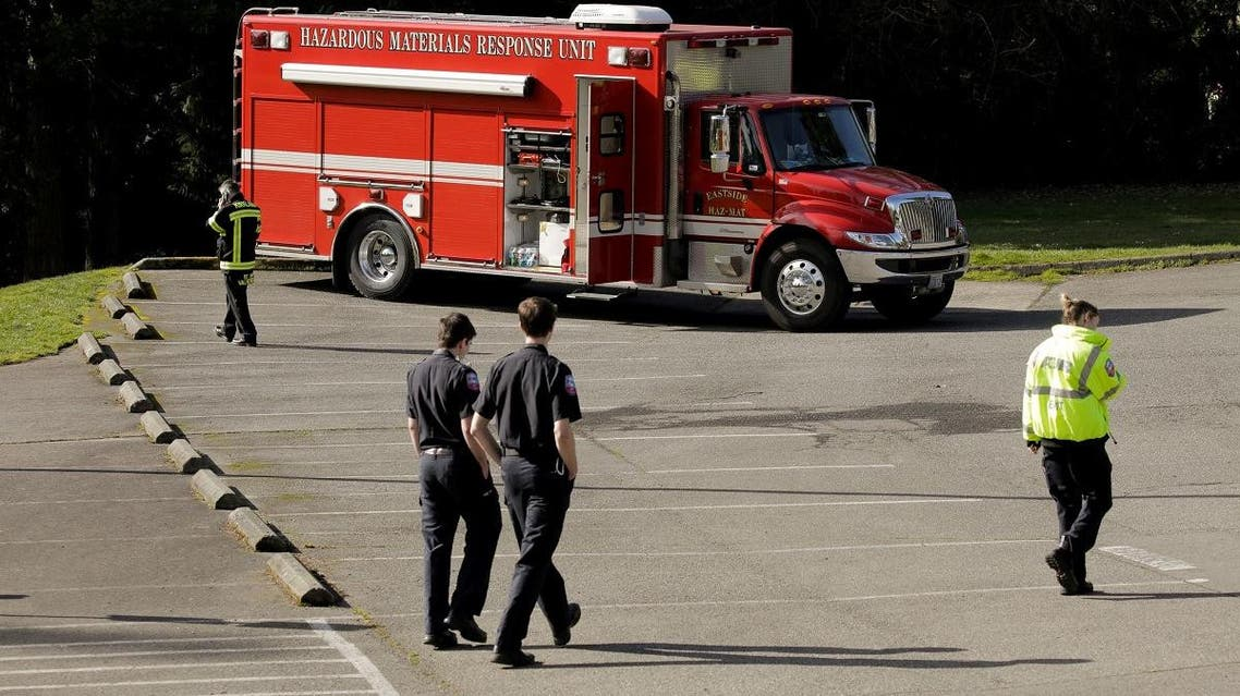 A hazardous materials response unit is seen in a staging area at the North Kirkland Community Center, the long-term care facility linked to several confirmed coronavirus cases in Kirkland, Washington, US March 4, 2020. (Reuters)