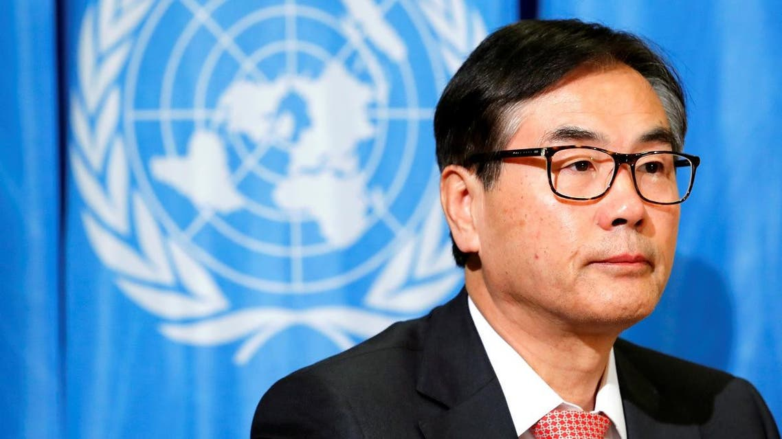 James Zhan, Director of the Division on Investment and Enterprise of the United Nations Conference on Trade and Development (UNCTAD) attends a press conference in Geneva, Switzerland, on February 5, 2018. (Reuters)