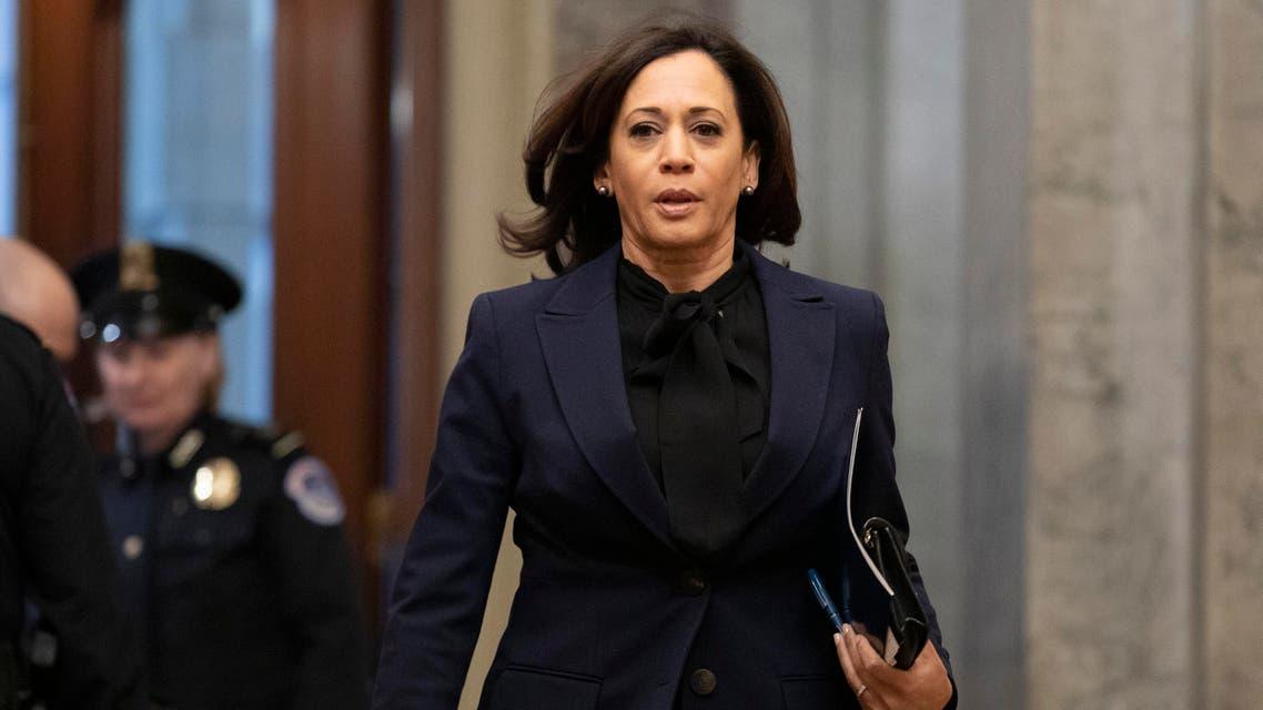 Sen. Kamala Harris arrives on Capitol Hill in Washington on Jan. 31, 2020. (AP)