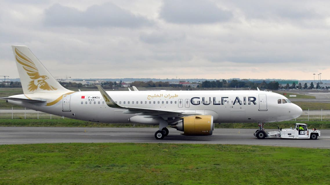An Airbus A320-251N of Bahraini airline Gulf Air (F-WWDU 9331) is pictured at the Airbus delivery center, in Colomiers, near Toulouse, southwestern France, on November 15, 2019. (AFP)