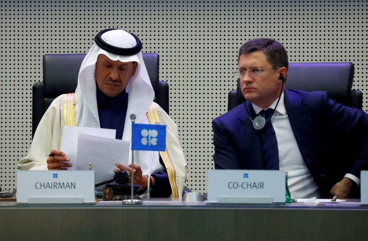 Saudi Arabia's Minister of Energy Prince Abdulaziz bin Salman Al-Saud and Russian Energy Minister Alexander Novak at a meeting in Vienna. (Reuters)