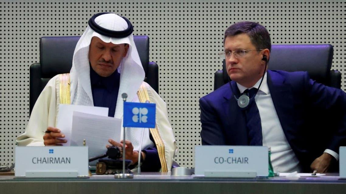 Saudi Arabia's Minister of Energy Prince Abdulaziz bin Salman Al-Saud and Russian Energy Minister Alexander Novak at a meeting in Vienna. (Reuters)