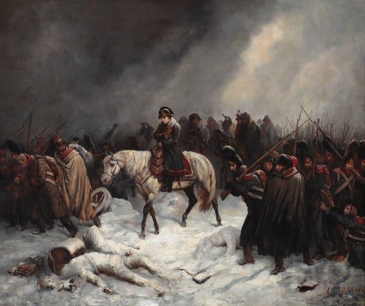 لوحة تجسد معاناة جيوش نابليون بونابرت أثناء انسحابها من روسيا