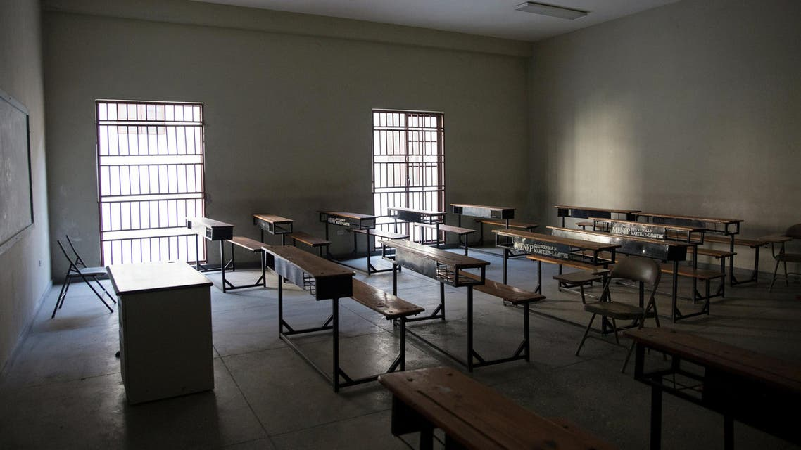 An empty classroom is seen at the Lycee Alexandre Petion as schools and businesses tentatively reopen their doors. (Reuters)