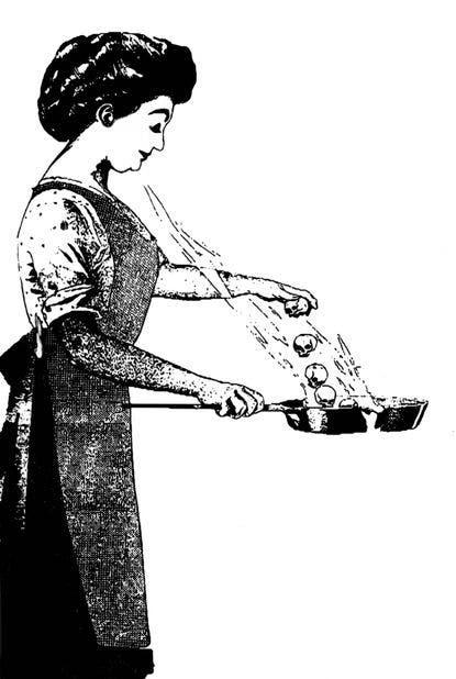 رسم ساخر لماري مالون أثناء نشرها للمرض عن طريق الطبخ