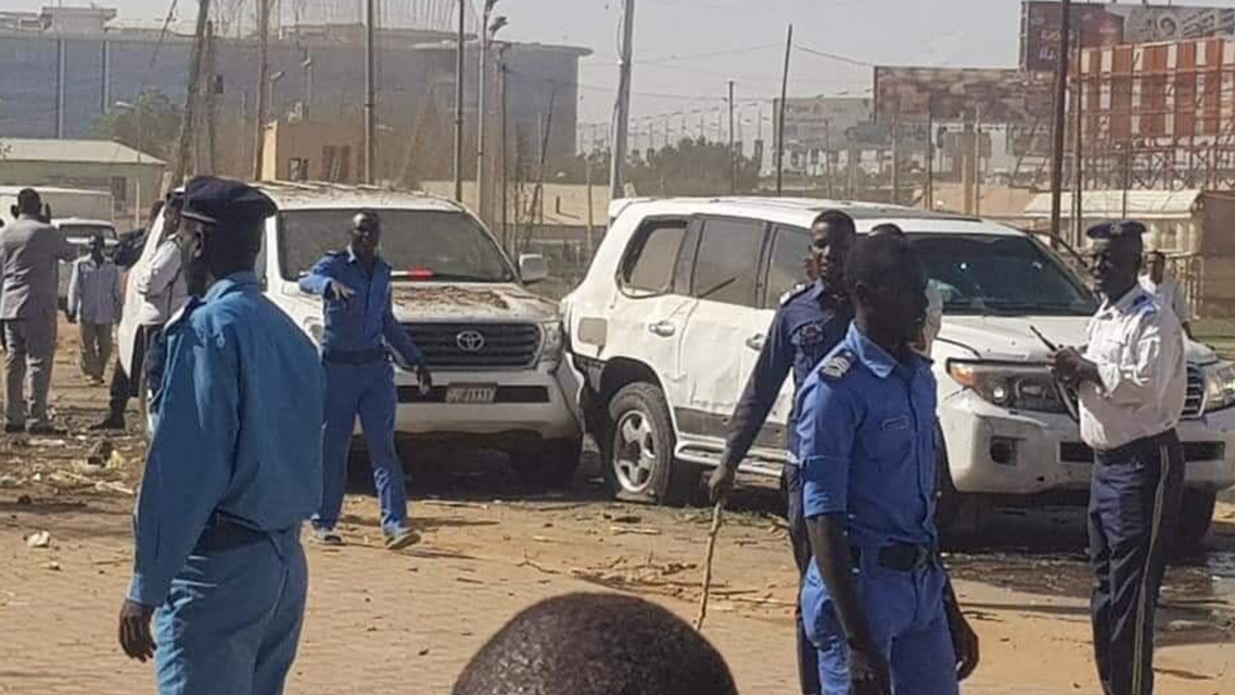 Police gather around the scene where an attempted assassination was carried out on the Sudanese Prime Minister in Khartoum. (Supplied)