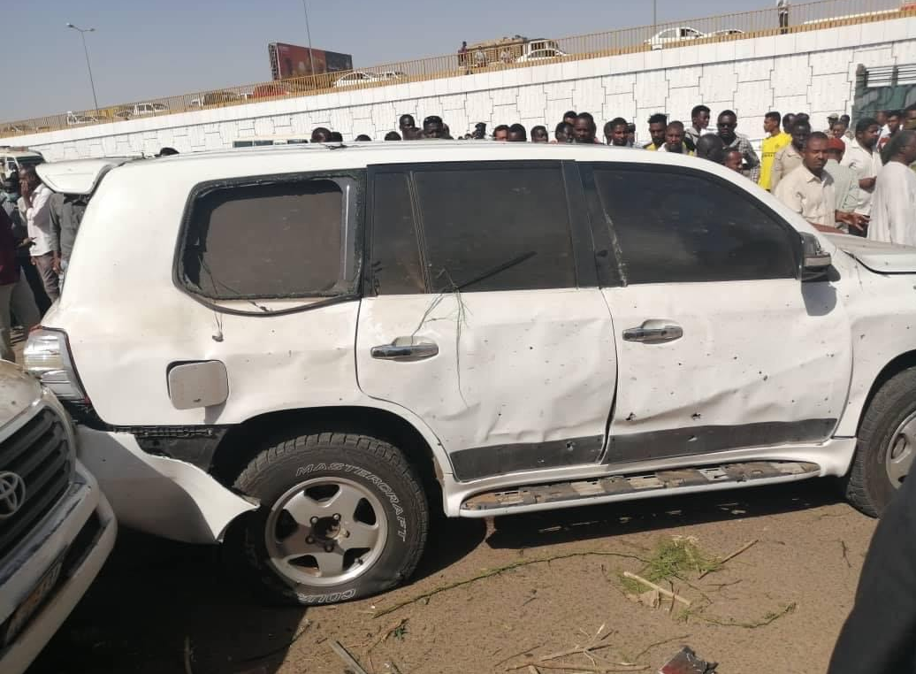 The scene where an attempted assassination was carried out on the Sudanese Prime Minister in Khartoum. (Supplied)