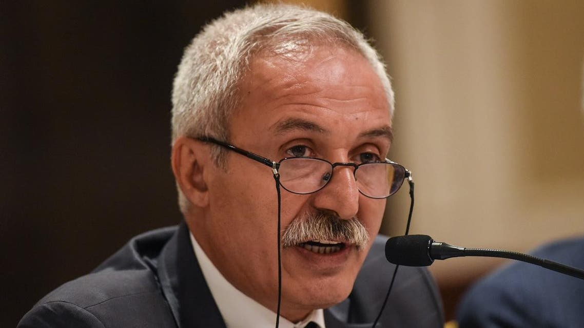The removed mayor of Diyarbakir, Adnan Selcuk Mizrakli speaks to the foreign press on August 29, 2019, in Istanbul. (AFP)