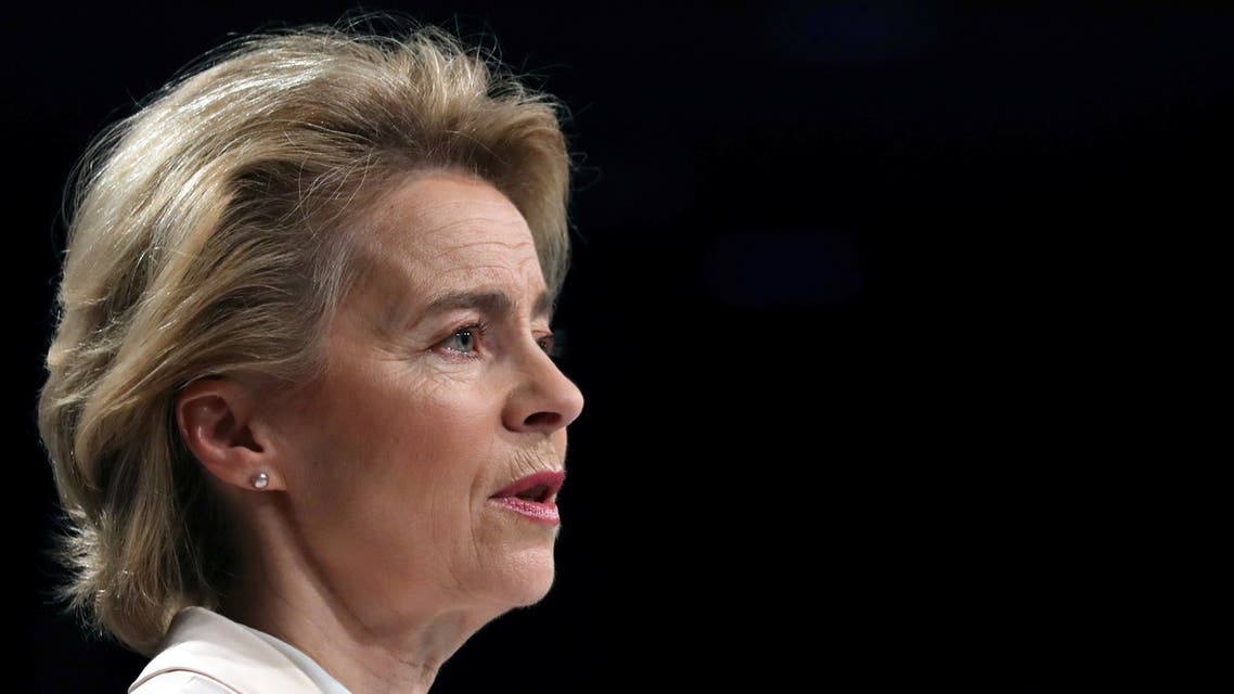 European Commission President Ursula von der Leyen speaks on the first 100 days of the EU Commission in Brussels, Belgium, March 9, 2020. REUTERS/Yves Herman