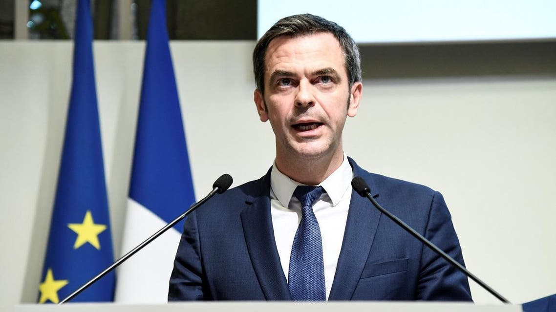 Health minister Olivier Veran gives a press conference following a ministers meeting on the Covid-19 coronavirus, on March 6, 2020 in Paris. (AFP)