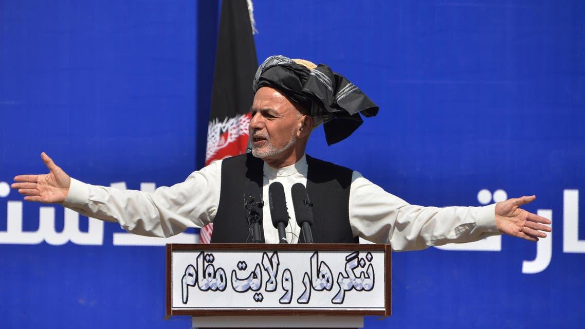 Afghan President Ashraf Ghani gestures as he speaks during a gathering in Jalalabad on March 3, 2020. (AFP)