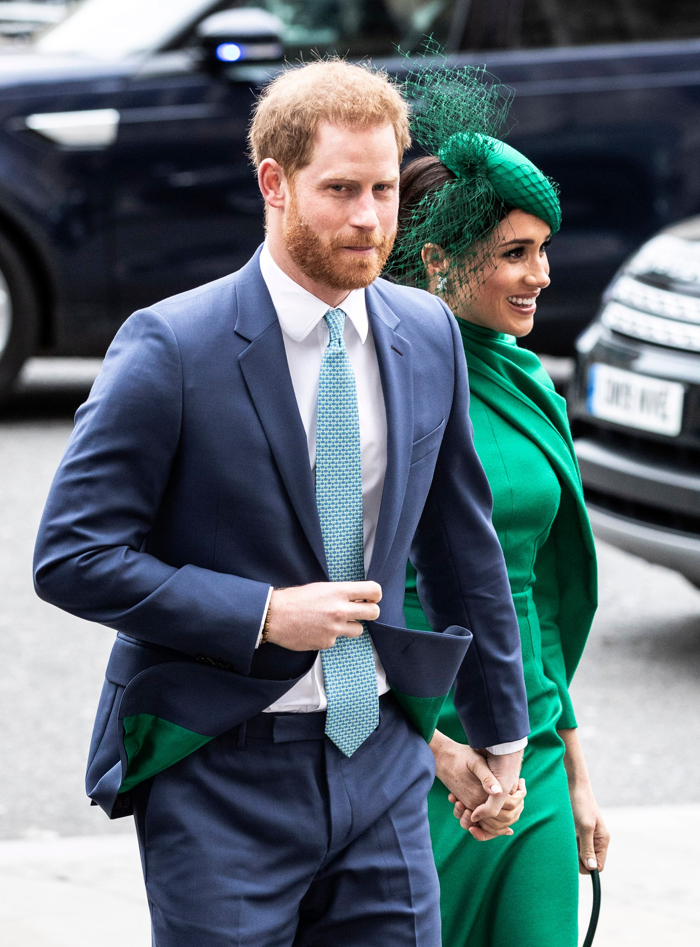 Britain's Prince Harry and Meghan, Duchess of Sussex, arrive to attend the annual Commonwealth Service at Westminster Abbey in London, on Monday March 9, 2020. (AP)