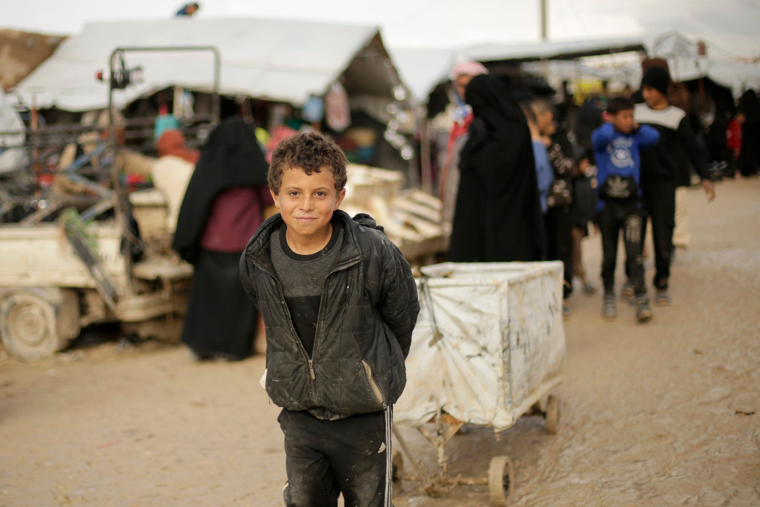 A boy who works as a porter at Al-Hol camp, where families from ISIS-held areas are housed at Hassakeh province, Syria, on March 31, 2019. (AP)