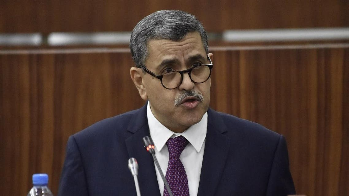Algeria's Prime Minister Abdelaziz Djerad addresses the National Assembly in the capital Algiers on February 11, 2020, as the parliament held debates and vote over the new government's plan to boost economy. (AFP)