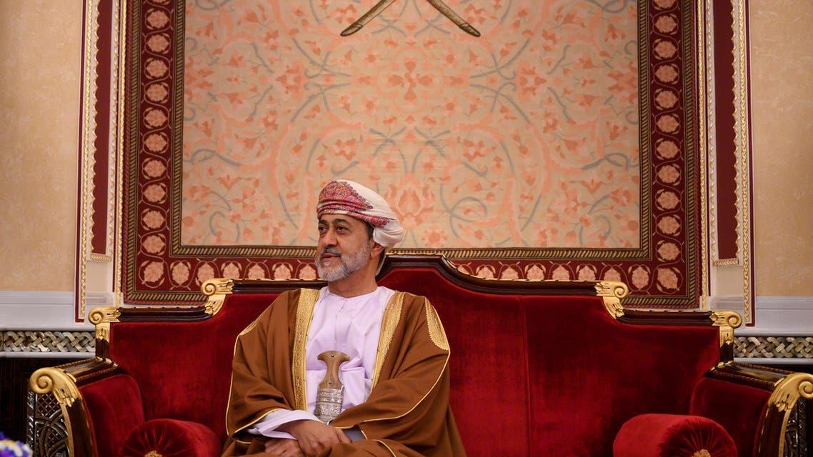 Oman's Sultan Haitham bin Tariq at al-Alam palace in Muscat, Oman on February 21, 2020. (Reuters)