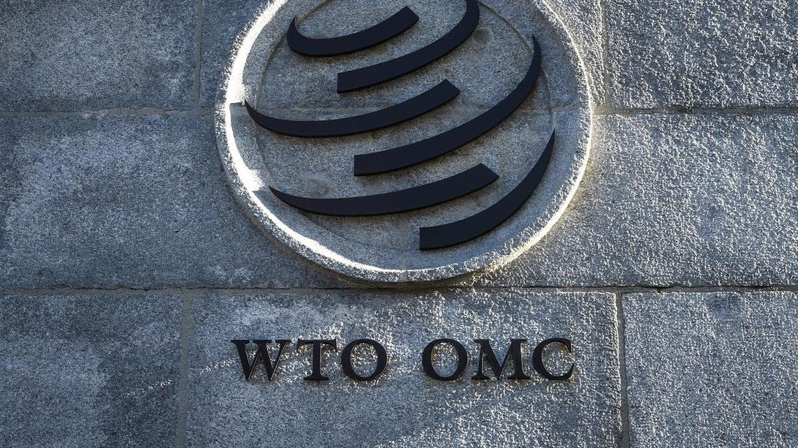 A sign of the World Trade Organization (WTO) is seen at the trade intergovernmental organization headquarters in Geneva on December 10, 2019. (AFP)
