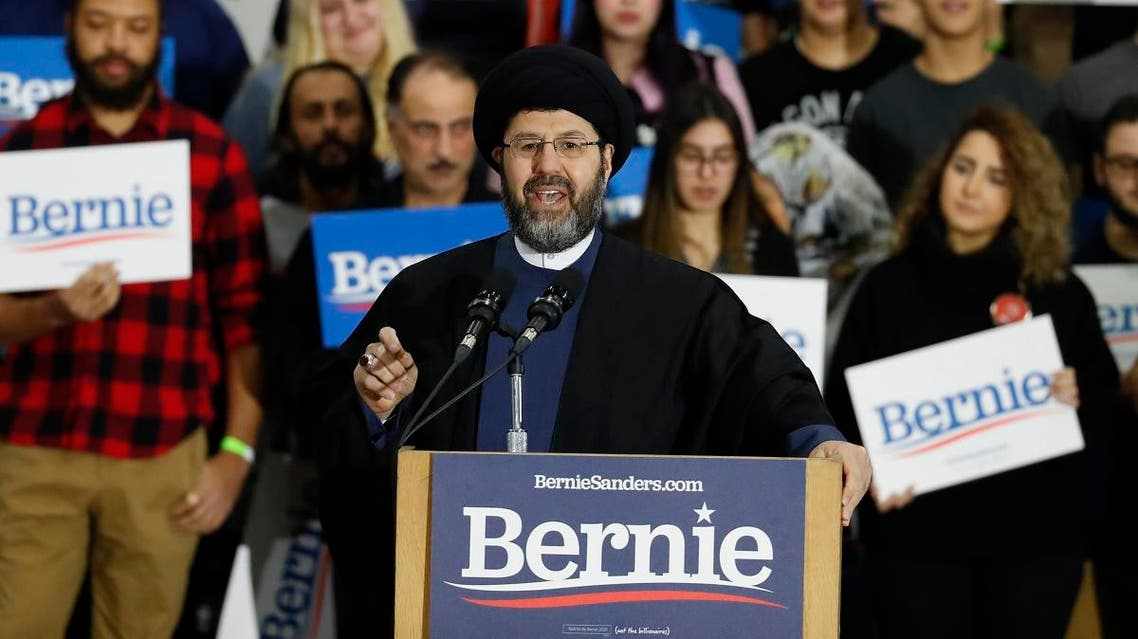 Imam Sayed Hassan Al-Qazwini speaks during a campaign rally for Democratic presidential candidate Sen. Bernie Sanders, I-Vt., in Dearborn, Mich. (AP)