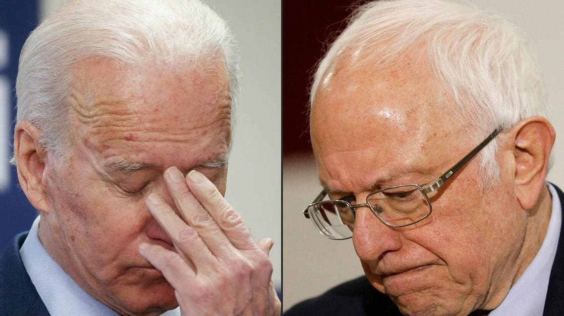 This combination of pictures created on March 10, 2020 shows Democratic presidential candidates Joe Biden (L) and Bernie Sanders (R). (AFP)