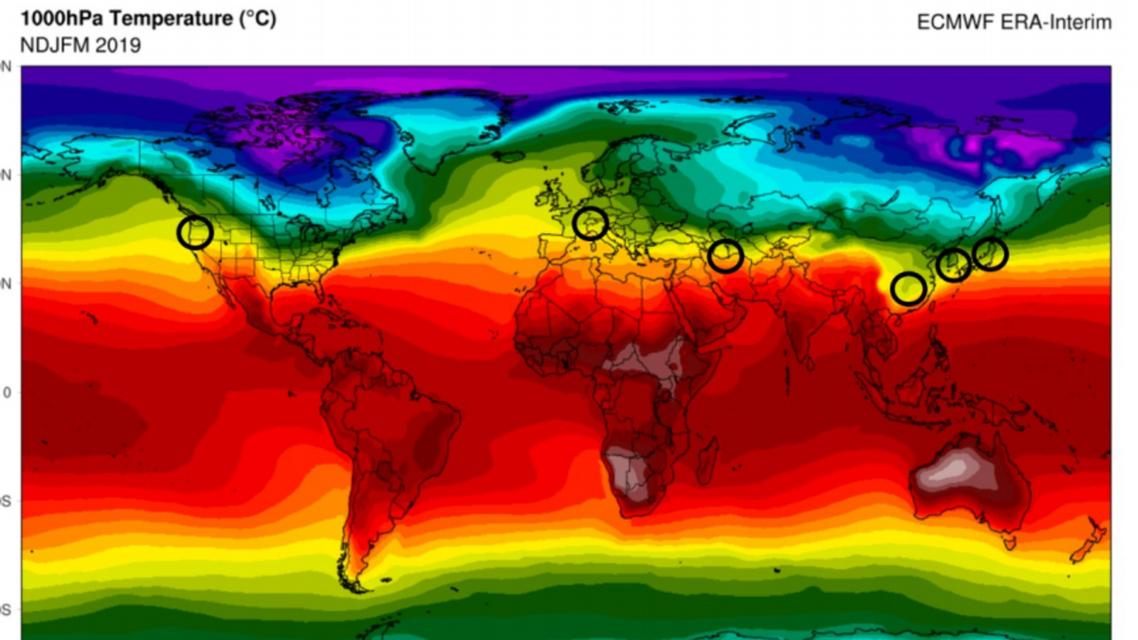 A screenshot from the University of Maryland study shows coronavirus hotspots along the same climate band. (Screengrab)
