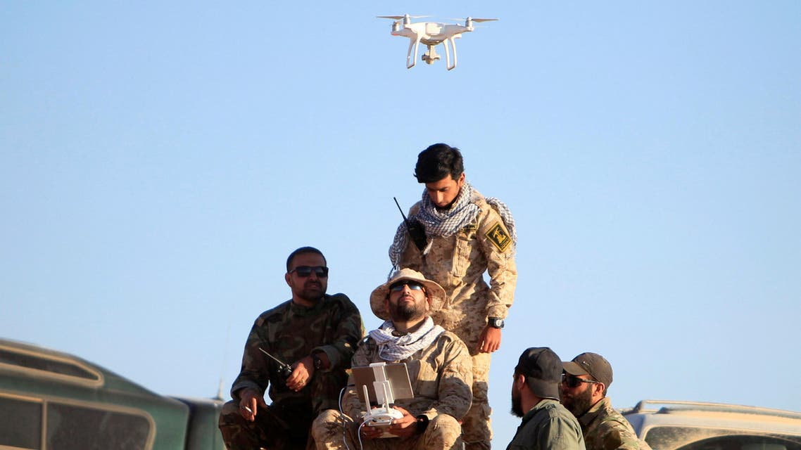 Hezbollah fighters fly a drone at Juroud Arsal, the Syria-Lebanon border, July 29, 2017. (Reuters)