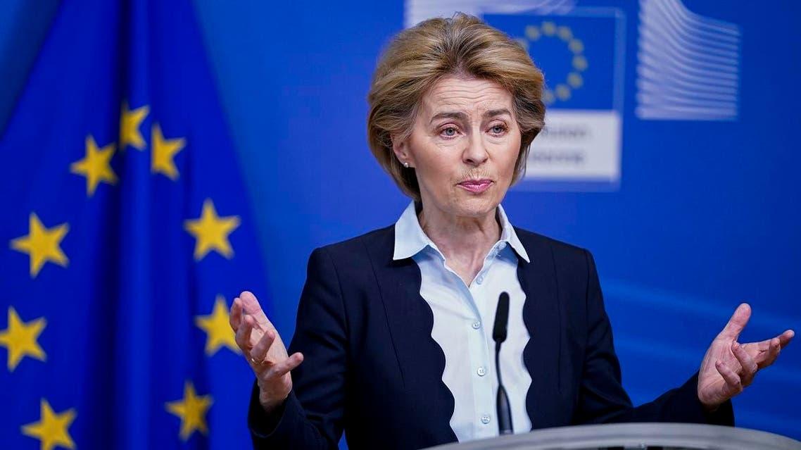 European Commission President Ursula von der Leyen speaks during a press statement at the Berlaymont building in Brussels on March 10, 2020. (AFP)