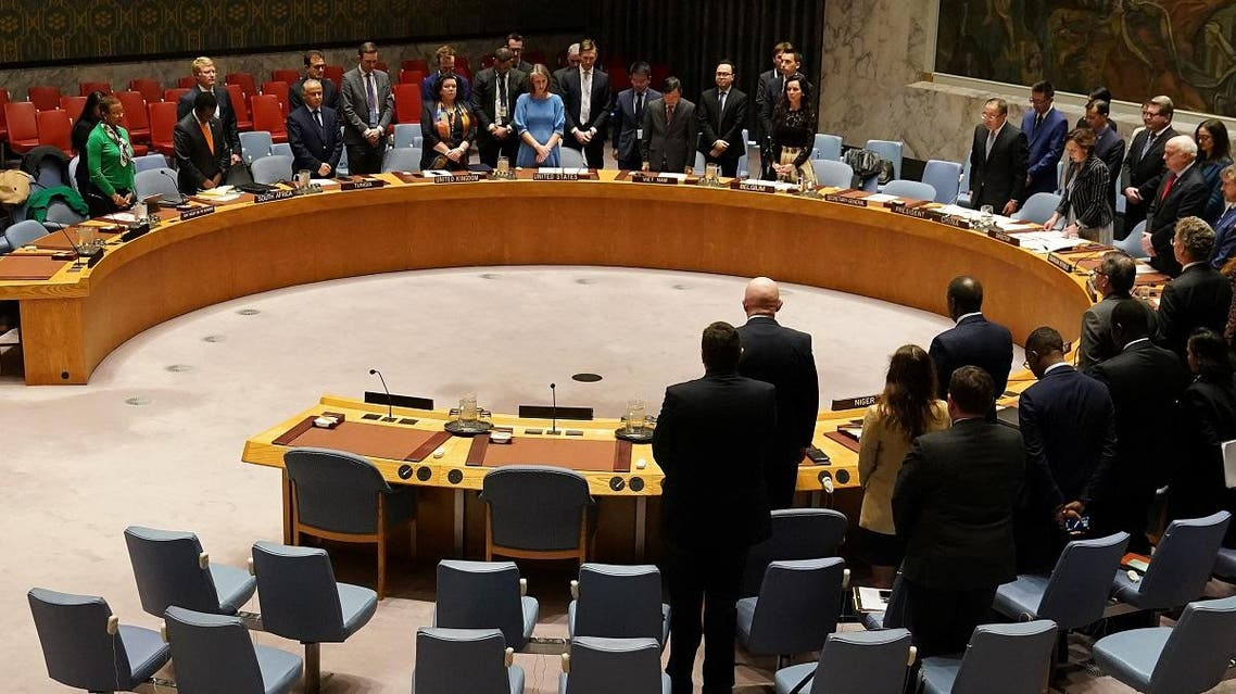 Members of the United Nations Security Council observe a moment of silence at the beginning of a meeting about Afghanistan at United Nations Headquarters in the Manhattan borough of New York City, New York,  March 10, 2020. (Reuters)