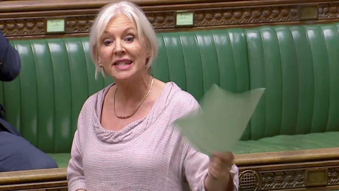 British Conservative MP Nadine Dorries speaks in Parliament in London, Britain, April 3, 2019. (Reuters)