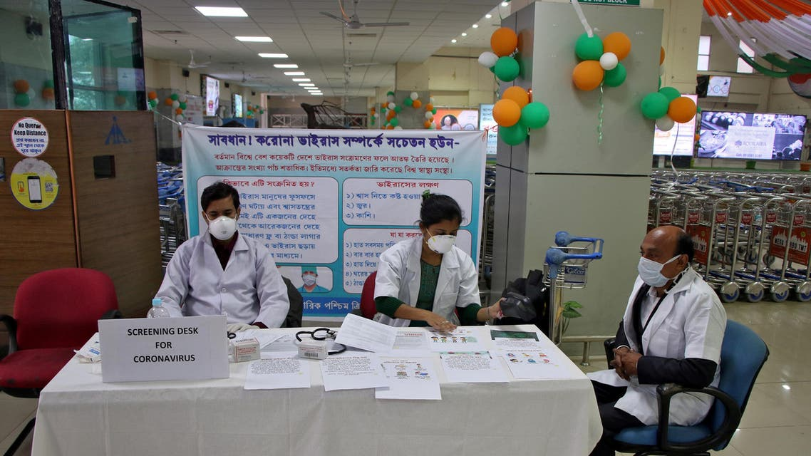 A health desk is set up to screen travelers for signs of the coronavirus at Maharaja Bir Bikram Airport in Agartala, India, January 31, 2020. (Reuters)