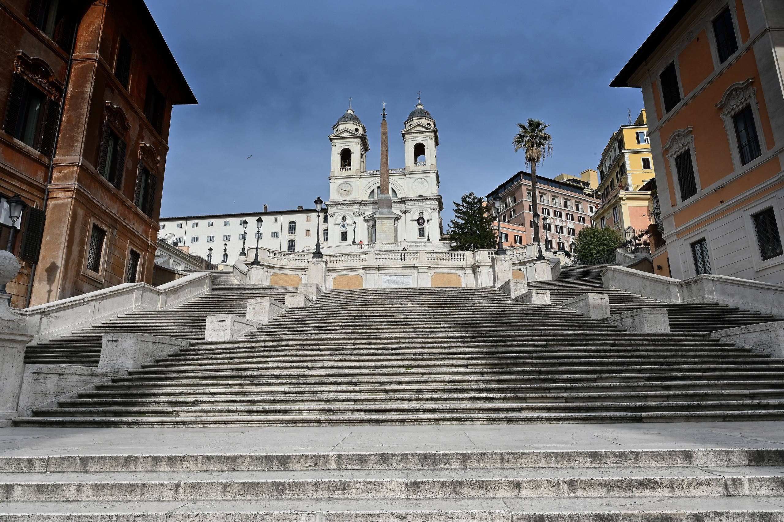 A view shows the deserted Spanish Steps by the Trinita dei Monti church in central Rome on March 12, 2020. (AP)
