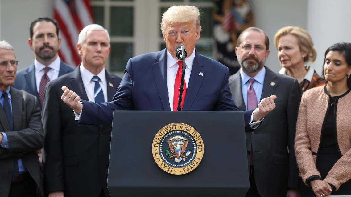 U.S. President Donald Trump stands with members of his coronavirus task force as he declares the coronavirus pandemic a national emergency during a news conference in the Rose Garden of the White House in Washington, U.S., March 13, 2020. REUTERS