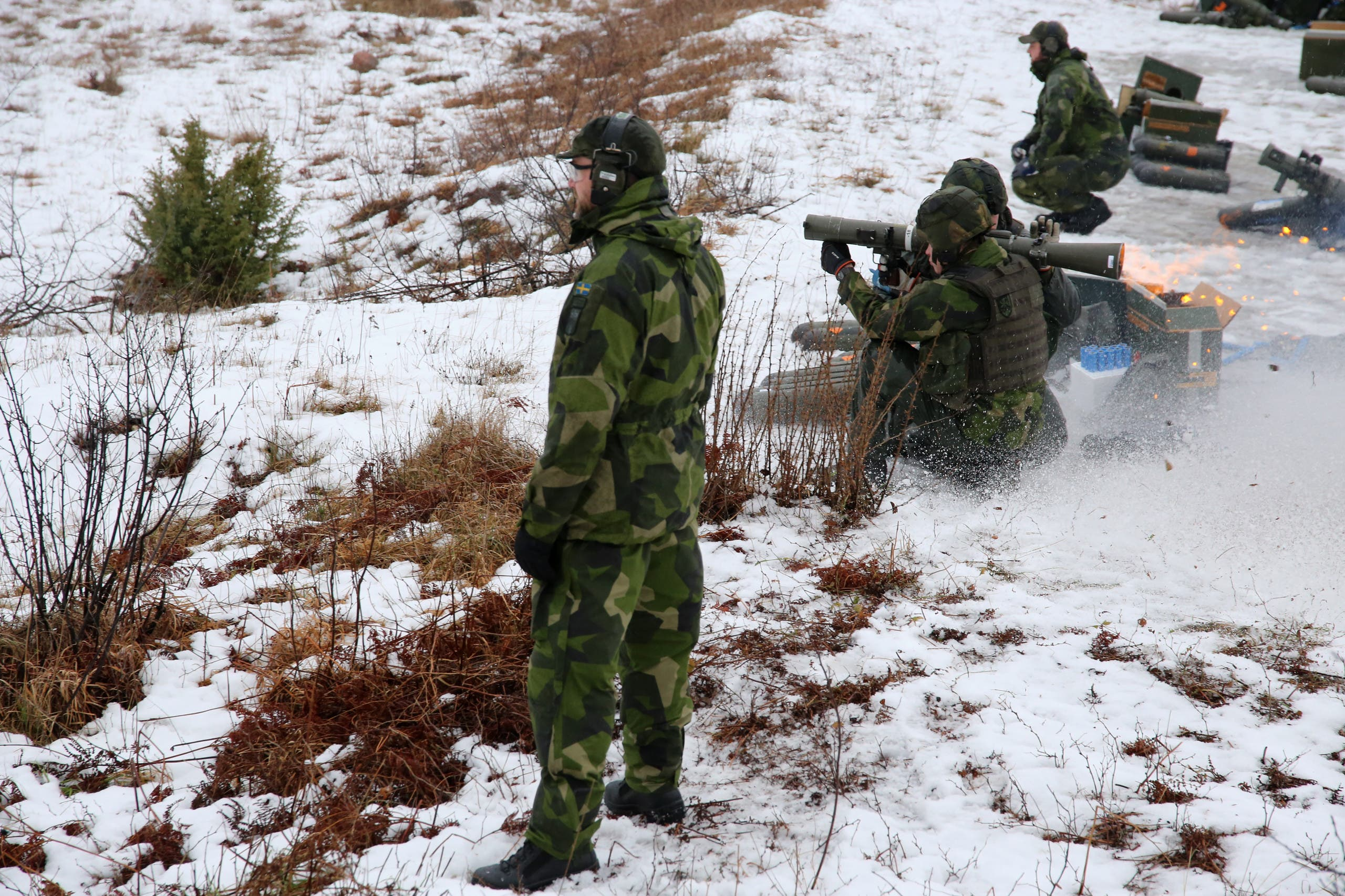 Members of the Gotland regiment fire an anti-tank weapon on a range during a live fire exercise on the Baltic island on February 5, 2019. (AFP)
