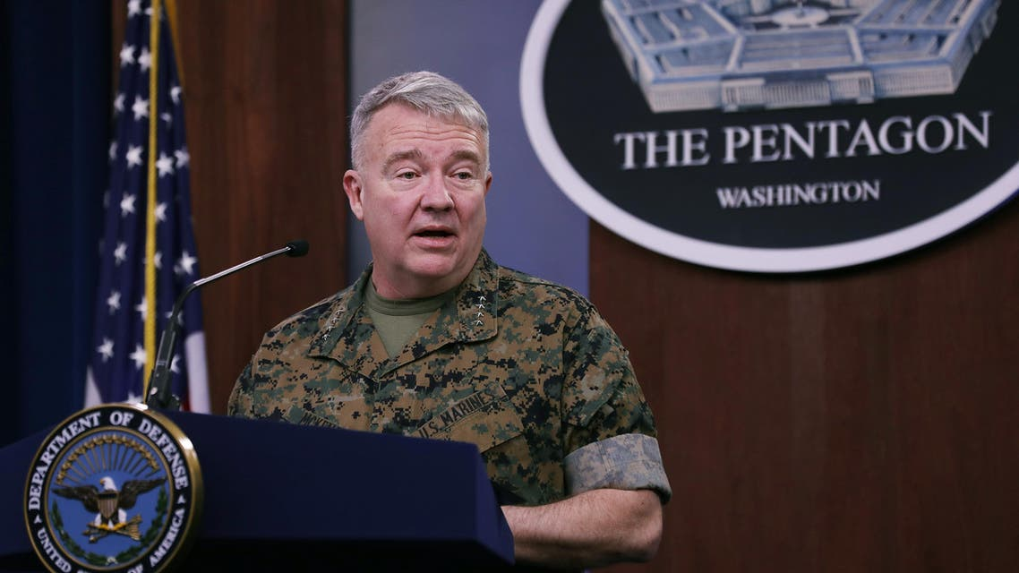 Marine Corps Gen. Kenneth F. McKenzie, commander of US Central Command, talks to journalists about the military response to rocket attacks that killed two US and one UK service members in Iraq at the Pentagon on March 13, 2020 (AFP)