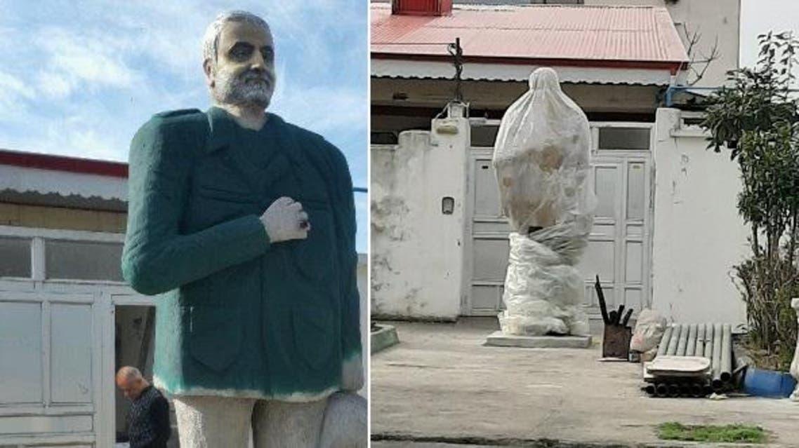 qassem soleimani Online users ridicule Iran plastic cover-up of Soleimani statue in northern Iran