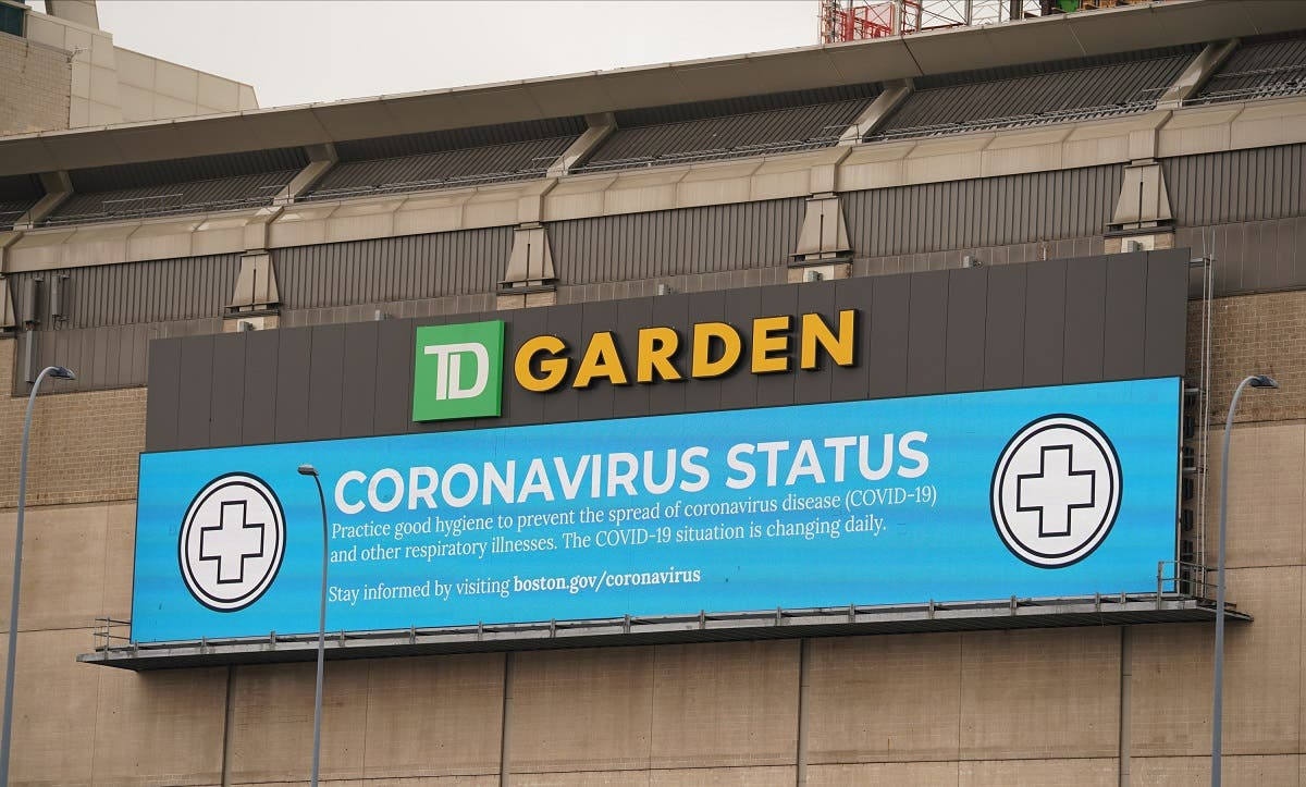 The exterior of TD Garden is seen as the NBA season is on hold due to concerns over the Covid 19 coronavirus. TD Garden is open to only to essential personnel. Mandatory Credit: David Butler II-USA TODAY Sports