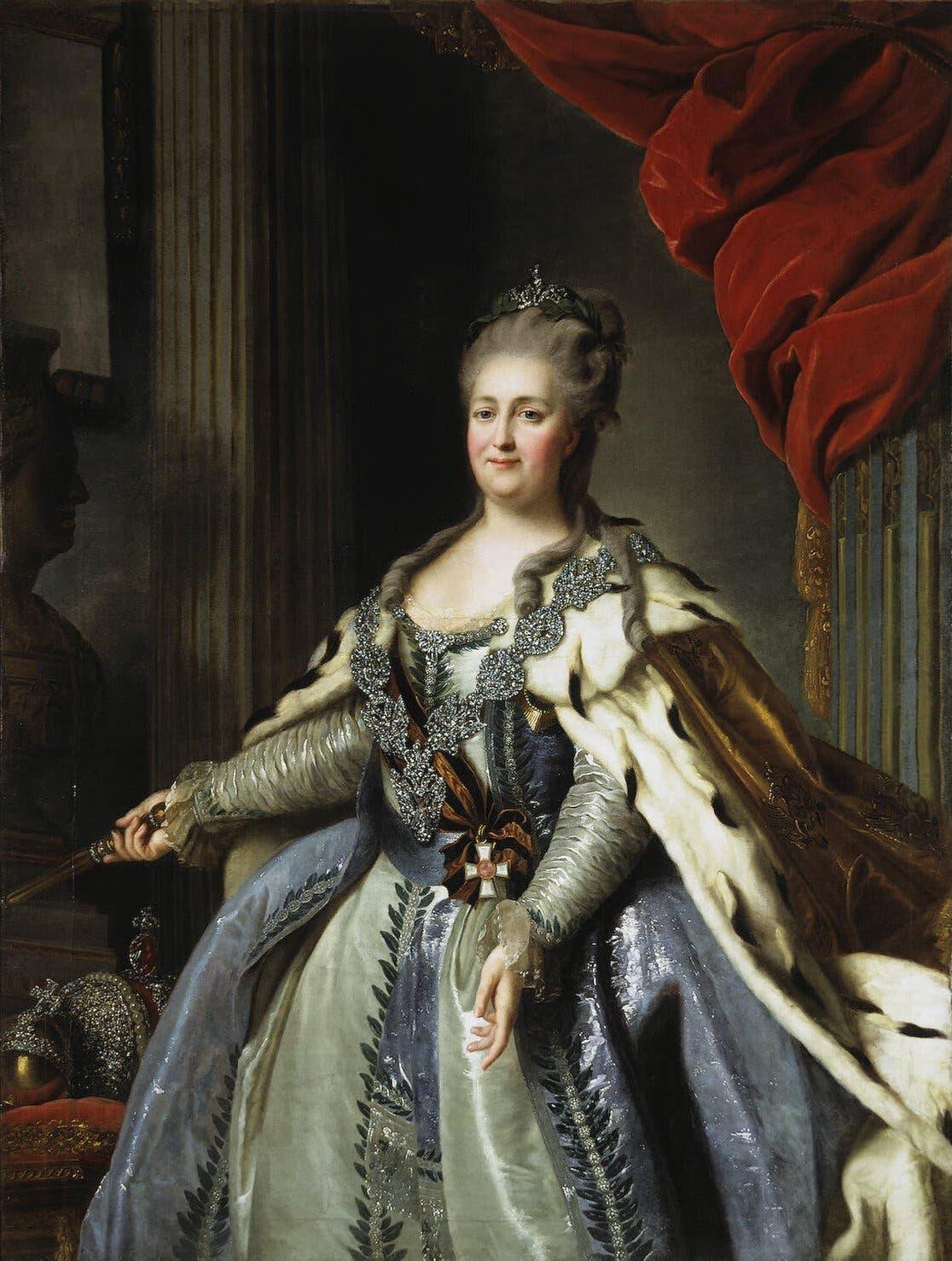 لوحة زيتية تجسد الإمبراطورة كاترين الثانية