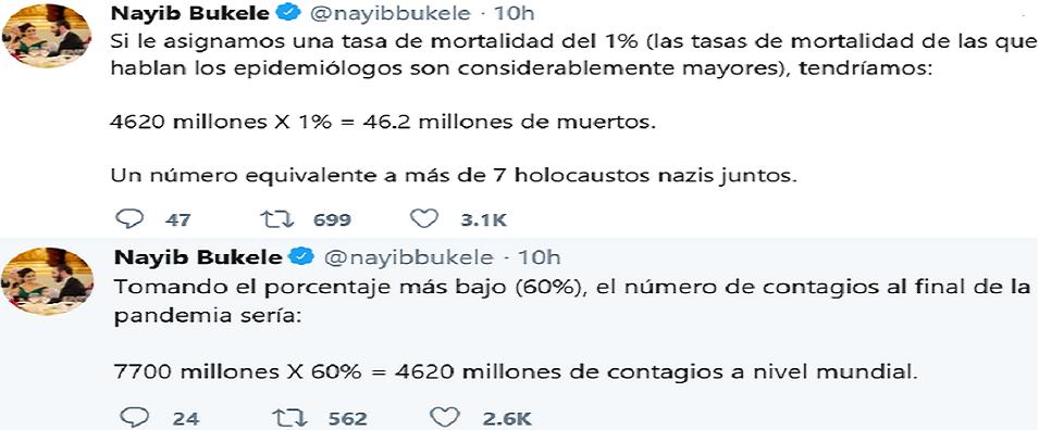اثنتان من تغريدات كتبها، وتتضمن حسبة خرج منها باستنتاج بائس عما سيفعله كورونا المستجد بضحاياه