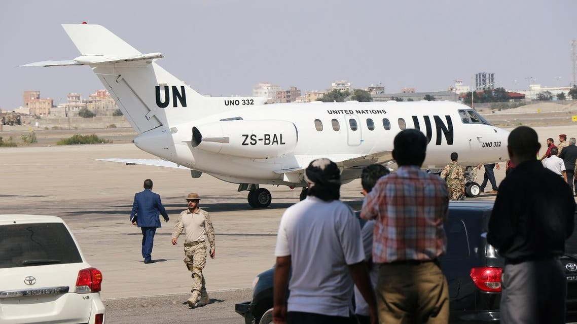 A plane carrying retired Dutch General Patrick Cammaert, who heads a United Nations advance team tasked with monitoring a ceasefire between the Iranian-aligned Houthi group and the legitimate government forces in Yemen's Hodeidah, arrives in Aden airport, Yemen December 22, 2018. REUTERS/