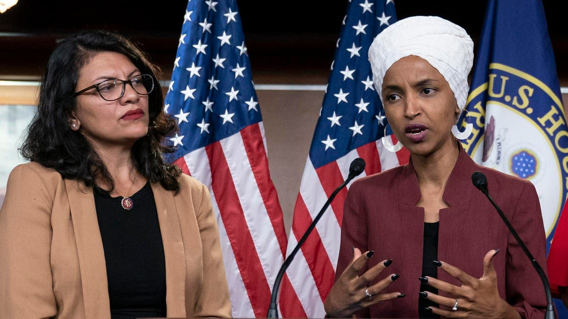 July 15, 2019, file photo, U.S. Rep. Ilhan Omar, D-Minn, right, speaks, as U.S. Rep. Rashida Tlaib, D-Mich. listens, during a news conference in Washington. (AP)