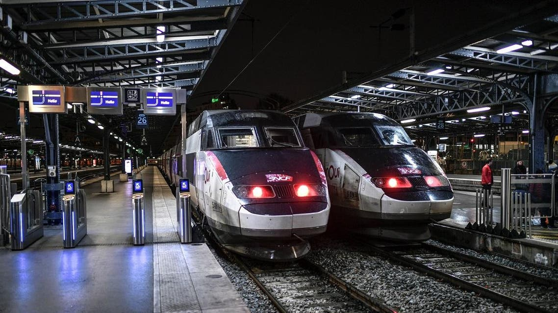 In this file photo taken on December 23, 2019 two TGV trains of the French state railway company SNCF are parked at the platform of the Gare de l'Est train station in Paris. (File photo: AFP)