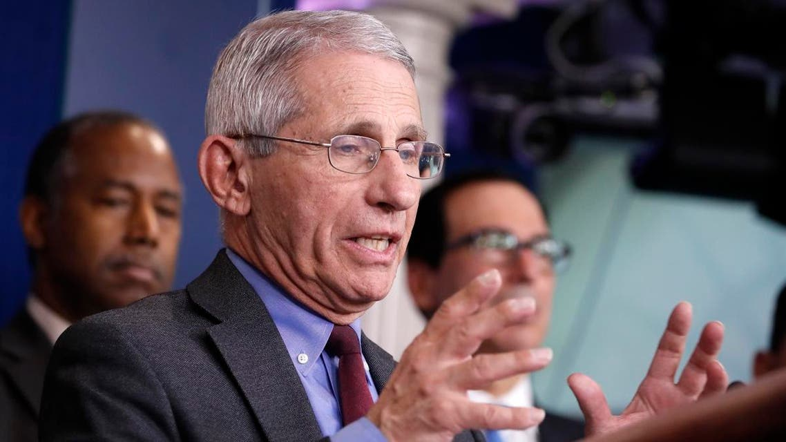 Dr. Anthony Fauci, director of the National Institute of Allergy and Infectious Diseases, speaks during a briefing on coronavirus in the Brady press briefing room at the White House, on March 14, 2020, in Washington. (AP)