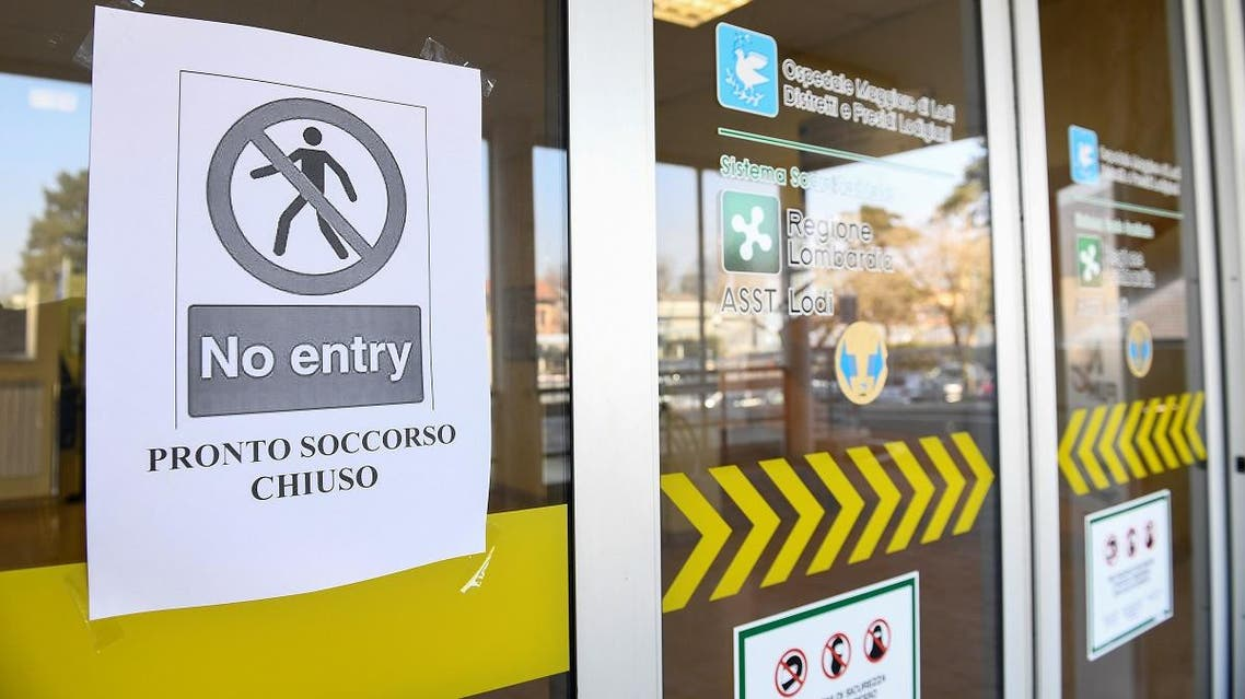 A 'no entry' sign advising that the emergency room is closed is seen on the main entrance of the Codogno hospital amid a coronavirus outbreak in northern Italy, February 22, 2020. (Reuters)