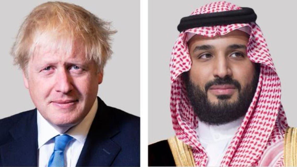 Saudi Arabia's Crown Prince Mohammed bin Salman (R) and British Prime Minister Boris Johnson (L). (Twitter)