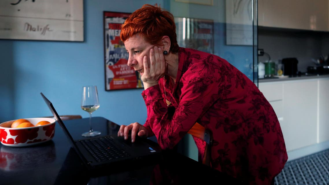 Francesca Valagussa, 40, works at her home at lunchtime, in Rome, Italy, March 16, 2020. Reuters