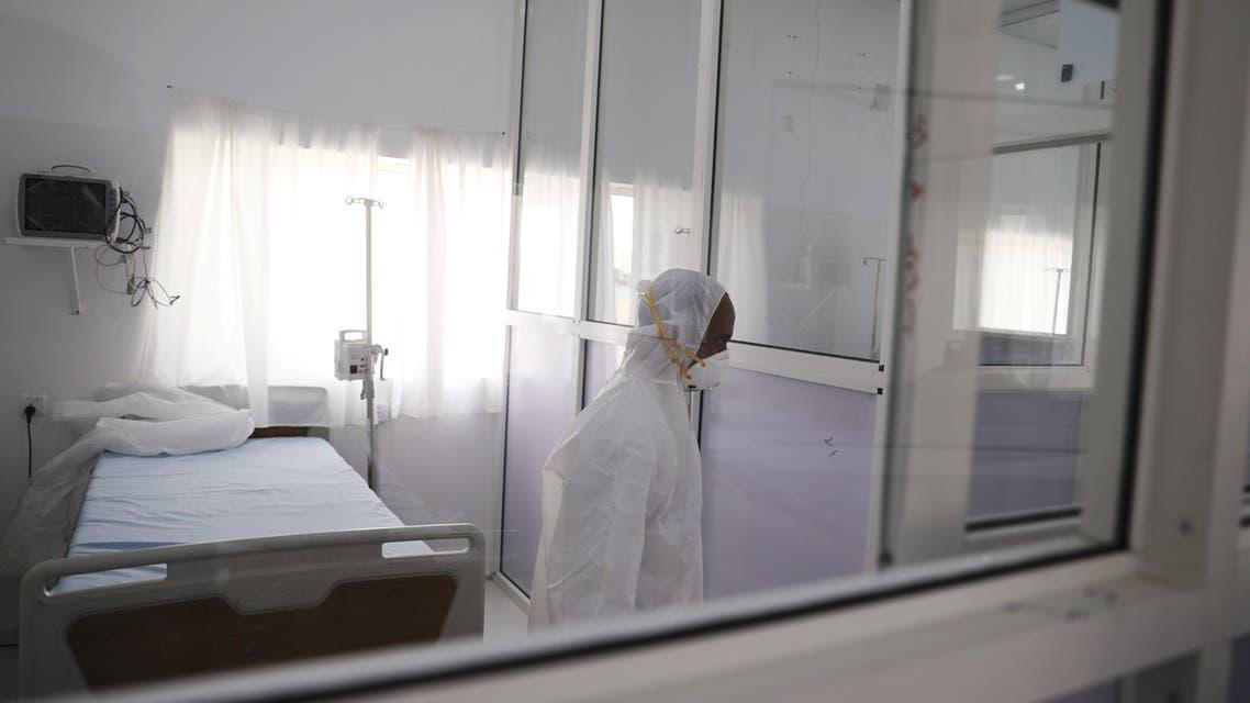 A health worker walks inside a newly erected coronavirus quarantine center in Sanaa, Yemen, March 2, 2020. (Reuters)