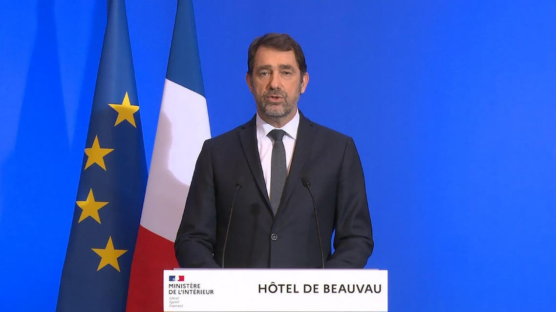 A grab of a video made on March 16, 2020 at the Interior Ministry in Paris shows French Interior Minister Christophe Castaner speaking during a press conference on the measures taken to fight the coronavirus. (AFP)