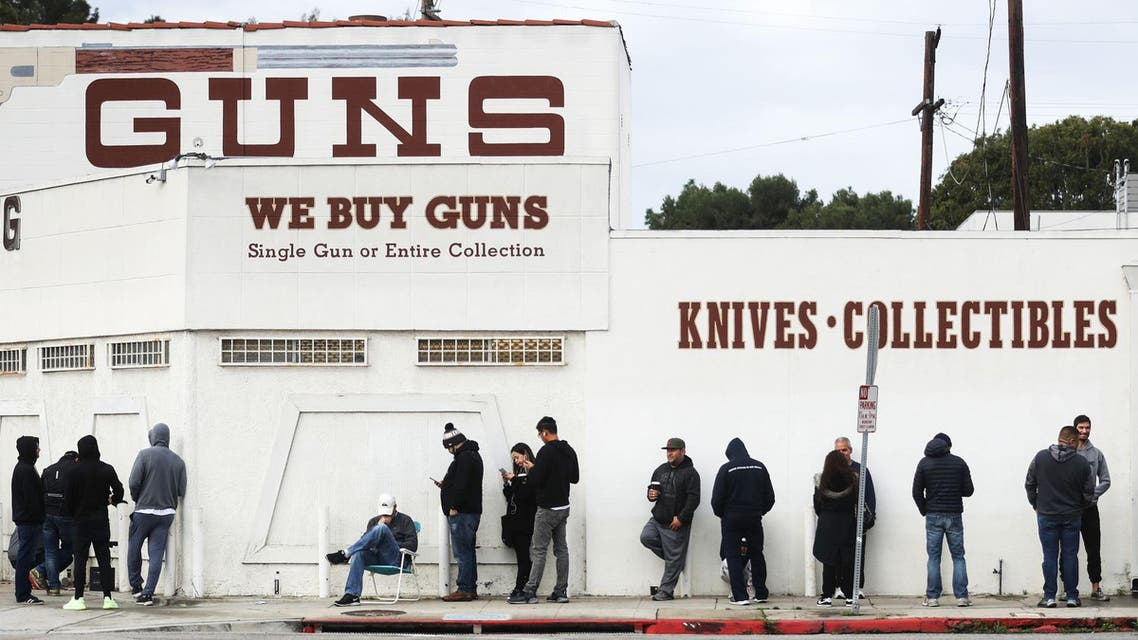 People line up outside a gun store in California as fears over a food shortage caused by the coronavirus outreak spread. (Twitter)