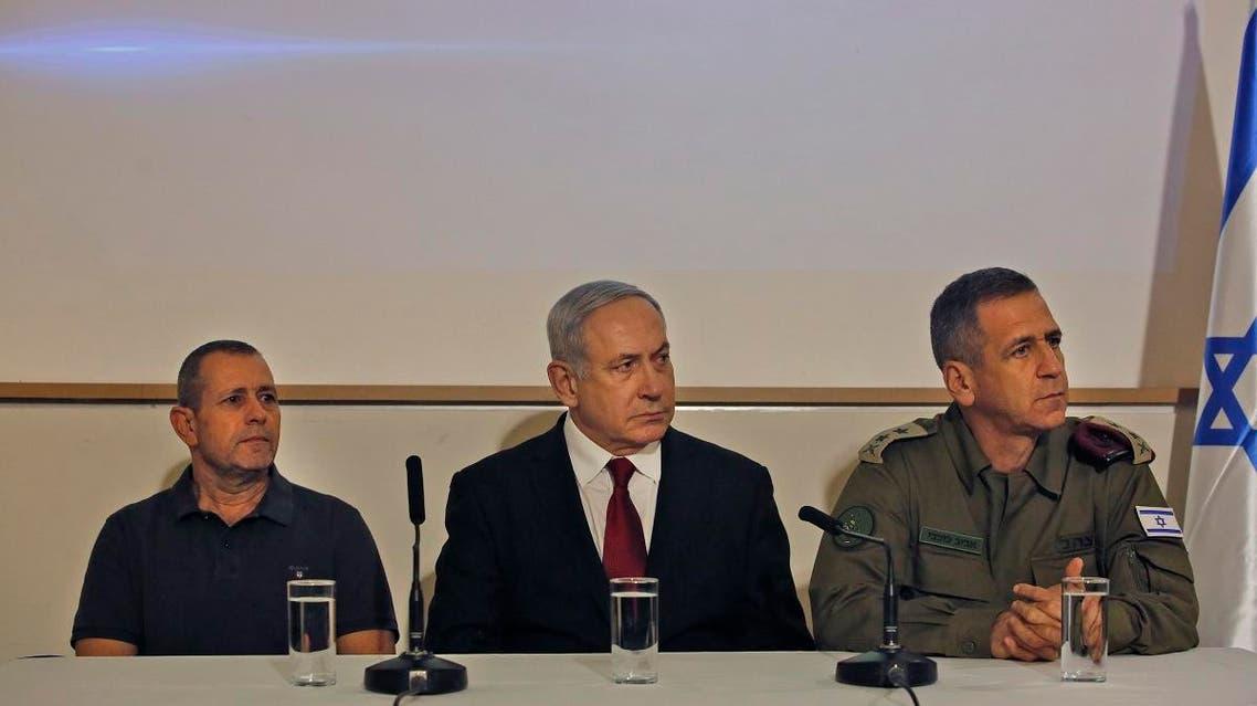 Israeli Prime Minister Benjamin Netanyahu (C) Army Chief of Staff, Lieutenant General Aviv Kochavi, and Shin Bet director Nadav Argaman (L) address the media. (File photo: AFP)