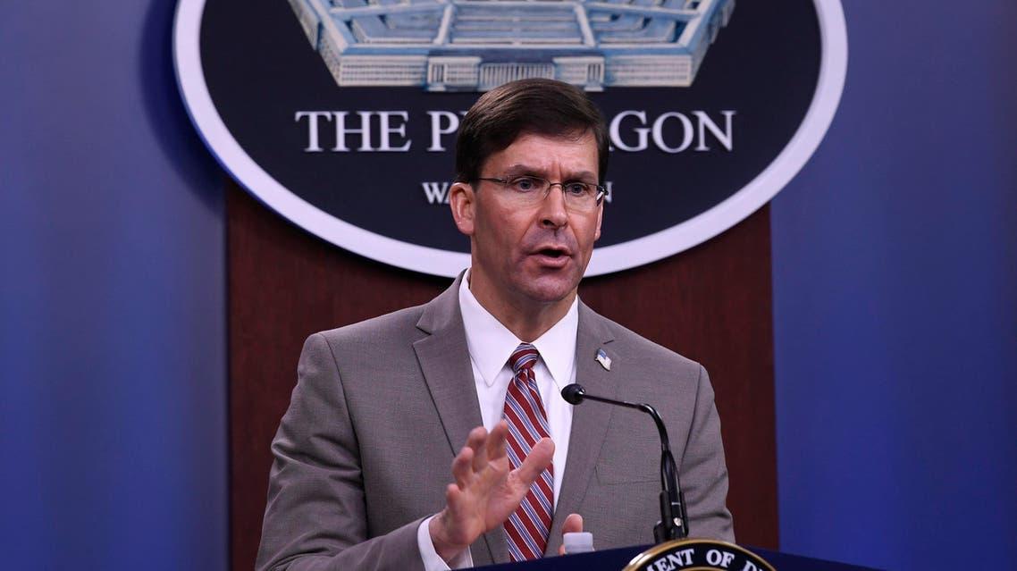 Defense Secretary Mark Esper speaks during a briefing at the Pentagon in Washington, Monday, March 2, 2020. (AP)